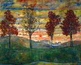 Egon Schiele - Four Trees, c.1917 - Reprodüksiyon