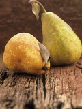 Two Pears on a Wooden Surface Photographic Print by John Hay
