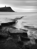 Rocks in Kimmeridge Bay with Clavell Tower in the Background, Dorset, UK Photographic Print by Nadia Isakova