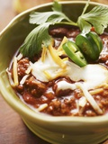 Chili Con Carne with Cheese and Sour Cream Photographic Print