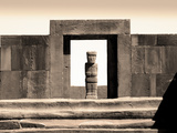 Bolivia, Tiahuanaco Ruins, Ponce Monolith Statue, Temple Gateway, Kalasasya Courtyard Photographic Print by John Coletti