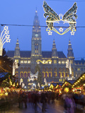 Christmas Markets, Rathaus (Town Hall), Vienna, Austria Photographic Print by Doug Pearson