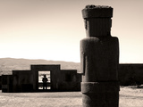 Bolivia, Tiahuanaco Ruins, Ponce Monolith Statue, Temple Gateway, Kalasasaya Courtyard Photographic Print by John Coletti