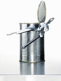 A Food Tin with a Tin Opener Photographic Print by  Kröger & Gross