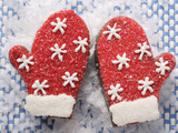 Decorated Chocolate Mittens for Christmas Photographic Print