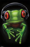 Frog Rock Headphones Poster Posters