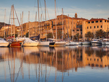 France, Corsica, Corse-Du-Sud Department, Propriano, Town Marina, Sunset Photographic Print by Walter Bibikow