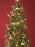Christmas Tree with Coloured Baubles and Fairy Lights Photographic Print