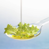 Oil Running onto Lettuce Leaf on Spoon Photographic Print by Brigitte Wegner