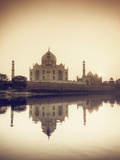 India, Uttar Pradesh, Agra, Taj Mahal (UNESCO Site) and Yamuna River at Sunset Photographic Print by Michele Falzone
