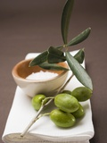 Olive Sprig with Green Olives, Sea Salt in Terracotta Bowl Photographie