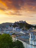 Sunrise over Hohensalzburg Fortressover and Alt Stadt, Salzburg, Salzkammergut, Austria Photographic Print by Doug Pearson