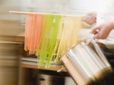 Home-Made Coloured Ribbon Pasta and Pasta Pan Fotografisk tryk
