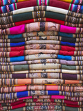 Colourful Blankets in Witches' Market, La Paz, Bolivia Photographic Print by Ian Trower