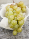 Green Grapes on Cloth in White Bowl Photographic Print