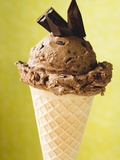 Chocolate Ice Cream with Pieces of Chocolate in Cone Photographic Print