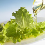 Oil Running onto Lettuce Leaves Photographic Print by Brigitte Wegner
