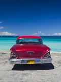 Cuba, Matanzas Province, Varadero, Varadero Beach with 1958 US-Made Cheverlot Photographic Print by Walter Bibikow