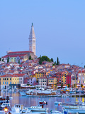 Croatia, Istria, Rovinj, Harbour and Cathedral of St. Euphemia Photographic Print by Alan Copson