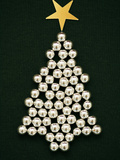 A Sliver Christmas Tree Made of Sugar Balls Photographic Print by Anita Brantley