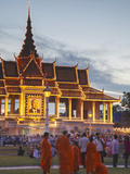 Crowds Outside Royal Palace at Dusk, Phnom Penh, Cambodia Photographic Print by Ian Trower