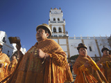 Women Dancing in Festival in Plaza 25 De Mayo, Sucre (UNESCO World Heritage Site), Bolivia Photographic Print by Ian Trower