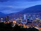 Medellin, Colombia, Elevated View of Downtown Medellin, Aburra Valley Surrounded by the Andes Mount Photographic Print by John Coletti