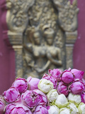 Flower Offerings at Wat Phnom, Phnom Penh, Cambodia Photographic Print by Ian Trower