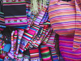 Colourful Bags and Scarves in Witches' Market, La Paz, Bolivia Photographic Print by Ian Trower