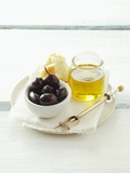 Olives, Olive Oil and White Bread Photographic Print