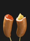 Sausages with Ketchup and Mustard on Wooden Cocktail Sticks Photographic Print