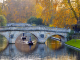 UK, England, Cambridge, the Backs, Clare and King's College Bridges over River Cam in Autumn Photographic Print by Alan Copson