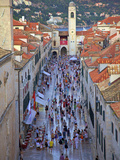 Bell Tower and Stradun, Dubrovnik, Dalmatia, Croatia Photographic Print by Neil Farrin