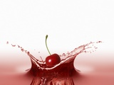 A Cherry Falling into Red Juice Photographic Print by Petr Gross
