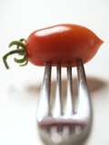 Plum Tomato, Speared on a Fork Photographic Print