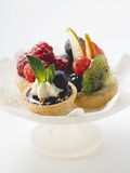 Fruit Tarts on a Pedestal Cake Stand Photographic Print