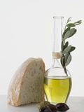 Olive Oil in Carafe, Olives and Piece of White Bread Photographic Print