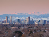 USA, Colorado, Denver, City View and Rocky Mountains from the East Photographic Print by Walter Bibikow