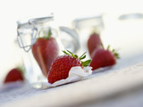 Fresh Strawberries and Preserving Jars Photographic Print by Jo Kirchherr