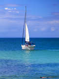 Dominican Republic, Eastern Peninsula De Samana, Samana, Sailboat Off Cayo Levantado Know as Bacard Photographic Print by Jane Sweeney