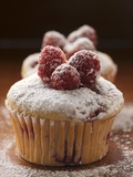 Raspberry Muffins with Icing Sugar Photographic Print