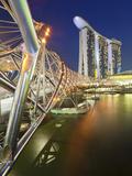 The Helix Bridge and Marina Bay Sands, Marina Bay, Singapore Photographic Print by Gavin Hellier