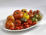 Various Types of Tomatoes on a Platter Photographic Print by Karl Newedel