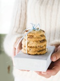 Hands Holding Cranberry Cookies on Small Box Photographic Print