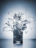 A Glass of Water Shattering Photographic Print by Antonios Mitsopoulus