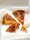 Three Slices of Pepperoni Pizza in Pizza Box Photographic Print