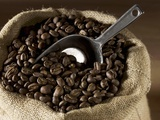 Coffee Beans in a Jute Sack Photographic Print by Jean-Michel Georges