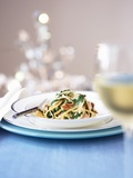 Whole Wheat Noodles in a Cream of Spinach Sauce Fotografisk tryk
