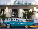 USA, Miami Beach, South Beach, Ocean Drive, Avalon Hotel and 1957 Thunderbird Car Photographic Print by Walter Bibikow
