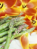 Heralds of Spring: Green Asparagus and Tulips Photographic Print by Linda Burgess